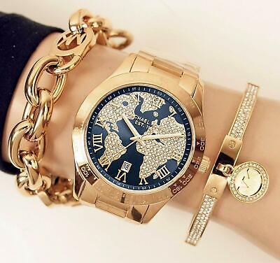 Original Michael Kors Watch Ladies Watch mk6243 Layton World Map Gold NEW | eBay