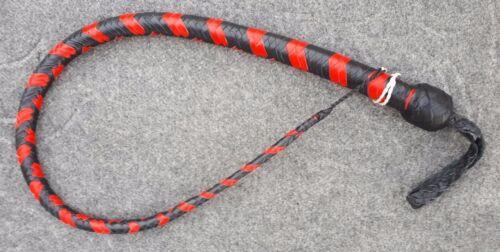 4 FT long 12 tressé cuir véritable Signal Fouet et Flogger Serpent Fouet environ 1.22 m