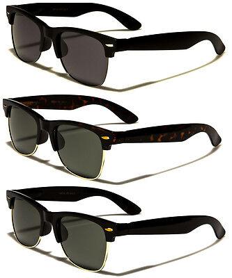 POLARIZED Clubmaster Style Half Frame Sunglasses Vintage Aviator