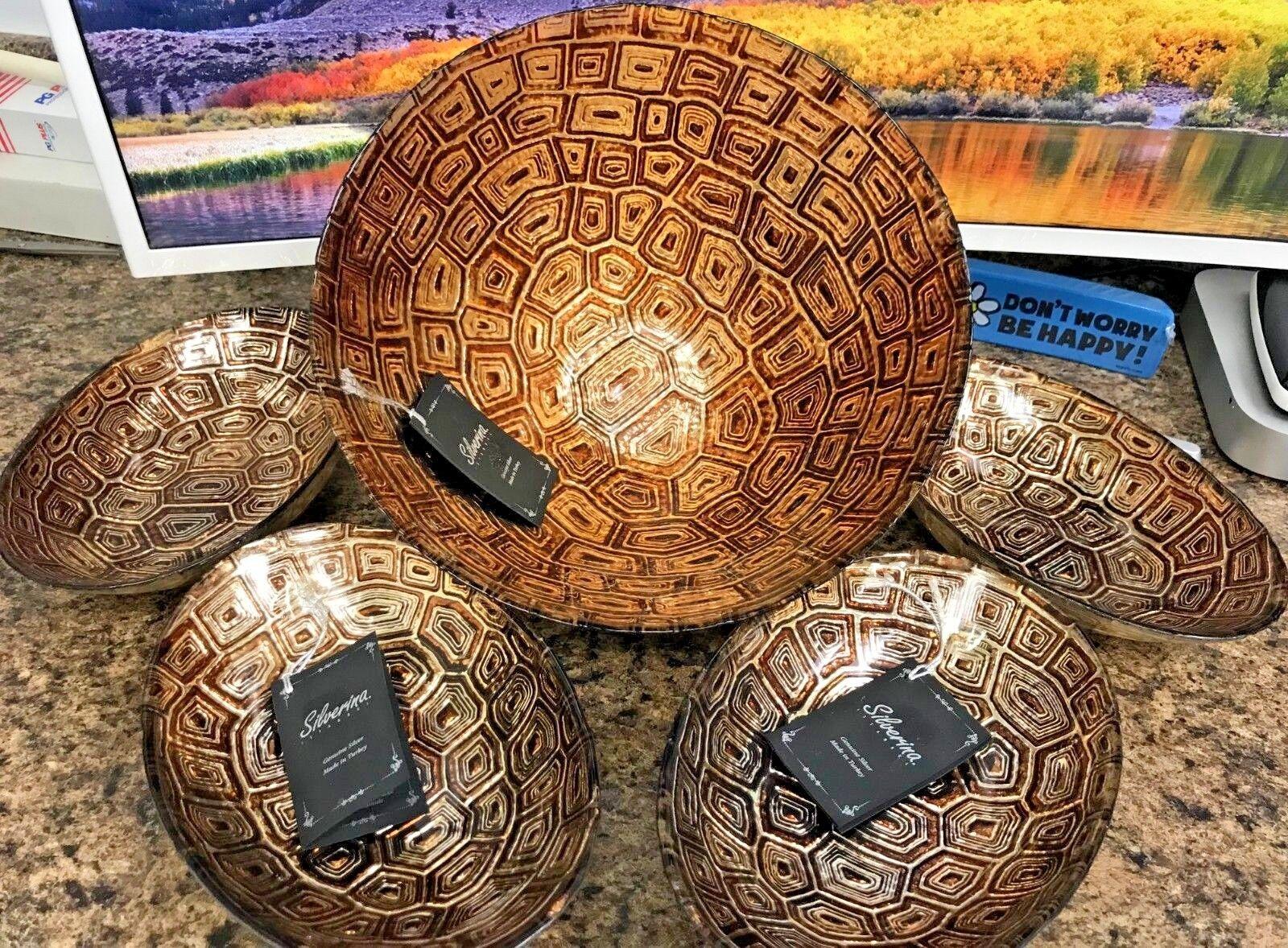 Akcam Handmade Glass Bowl Set Tortoise Shell Design Set of 5 Salad Bowl Set RARE