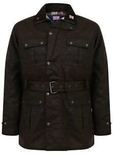 Mens-Wax-Biker-Motorbike-Jacket-Coat-Waterproof-Belted-Belt-Lined-Waxed-NEW