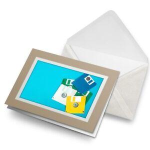 Greetings-Card-Biege-Computer-Floppy-Disks-Retro-80-039-s-16777