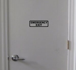 EMERGENCY-EXIT-Sign-Vinyl-Decal-Door-Window-Wall-Business-Office-Warehouse