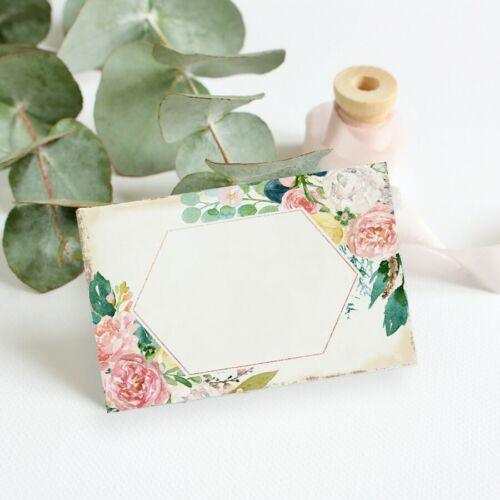 Peach Floral Placecards Floral Name Cards Rustic Wedding Place Setting