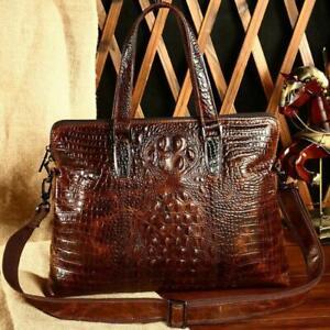 Men-Crocodile-Genuine-Leather-Shoulder-Messenger-Briefcase-Handbag-Laptop-bag-sz