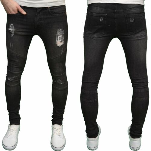Mens designer super skinny déchiré motard fit stretch jeans tailles taille 28-40