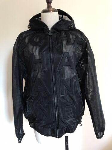 CHANEL Black MESH HOODIE jacket
