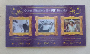 2016-NEW-ZEALAND-QEII-90tH-BIRTHDAY-039-HOLOGRAM-039-SET-OF-3-STAMPS-CARD