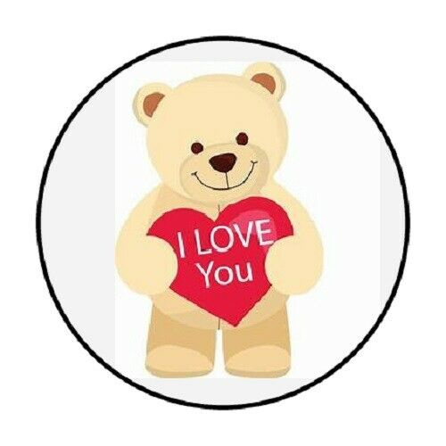 "ENVELOPE SEALS LABELS STICKERS 1.2/"" ROUND 48 I Love You Bear !"