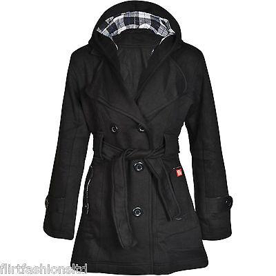 Women Check Hood Jacket Coat Ladies Belt Button Fleece Hooded Coats 6 8 10 12 14