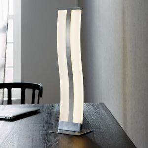 WOFI-LED-Lampara-de-MESA-Louvre-niquel-cromado-vidrio-acrilico-Interruptor