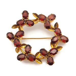 Vintage Gold Tone Brown Rhinestone Flower Wreath Fashion Brooch Scarf Lapel Pin