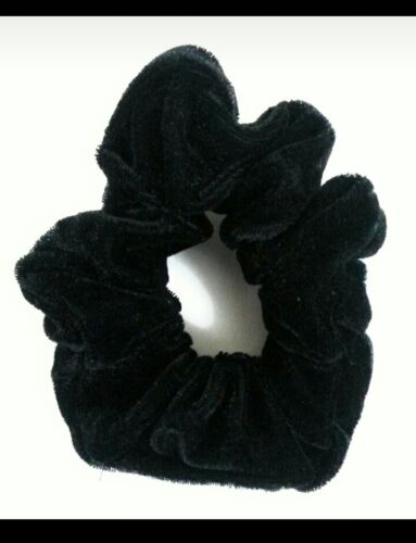 Set of 4 Black Velvet Hair Scrunchy Bobble Hair Band Elastic Snag Free Endless