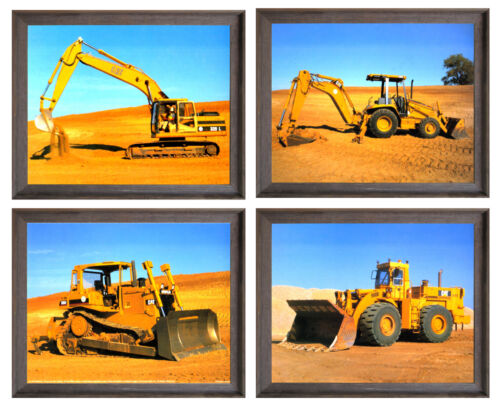 Heavy Equipment Caterpillar Bullodozer Truck Four Set 8x10 Framed Wall Decor Art