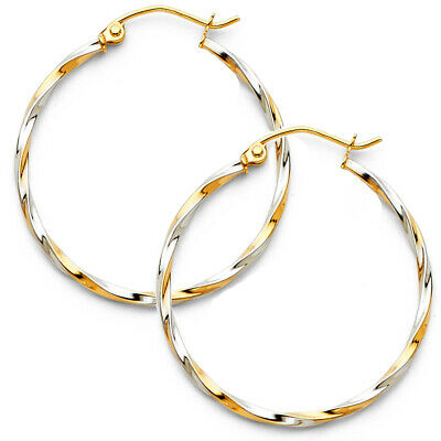 14K Two Tone Gold 1.5mm Thickness Twisted Tube Hoop Hinged Earrings Ioka