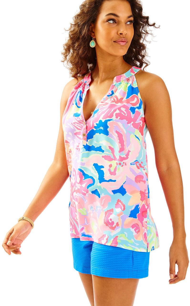 NWT  Lilly Pulitzer BAILEY Playa Hermosa Multi Silk Top  SMALL