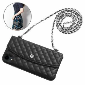 Cobble Pro Black Leather Wallet Case w/ Handbag Chain For iPhone X/XS/XR/XS Max