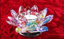Lotus Tea Light Candle Holder Multi Colour Crystal Glass Flower Rotating Base 7c