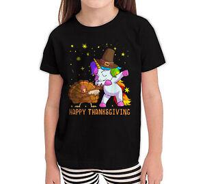 Happy-Thanksgiving-Dabbing-Turkey-Unicorn-Funny-Youth-Girl-T-Shirt-YXS-YXL-Black