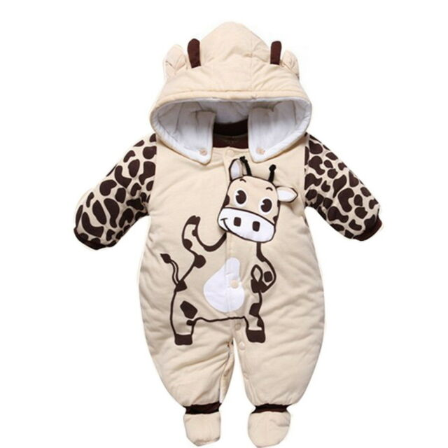 13c3f6b98da Infant Baby Boys Girls Quilted Suit Winter Jumpsuit Hoodie Warm ...