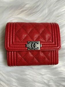 Image is loading NWT-Boy-Chanel-small-flap-wallet-Red-Grained- 2b59c3b96eba2
