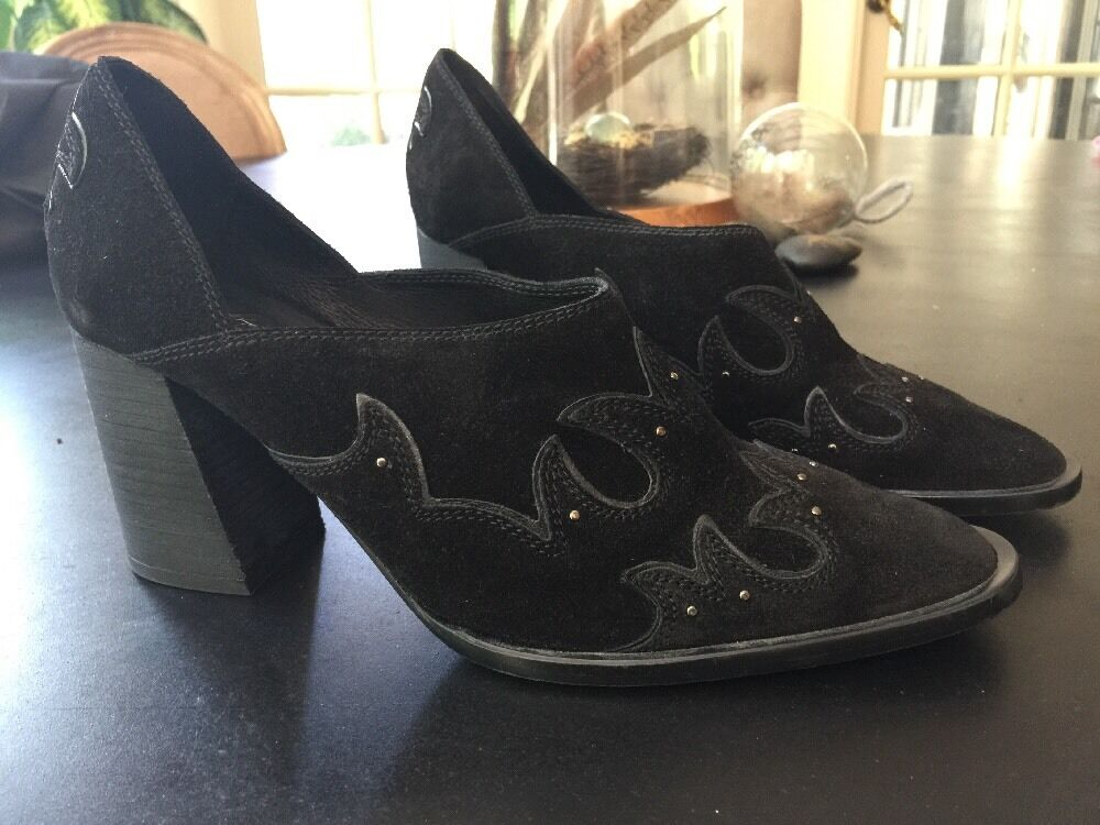 $178 Free People Alamo Booties Size 39 Black Suede Western Heels Shoes Boots