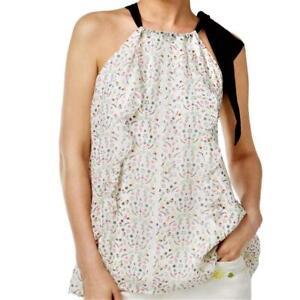 8fcc8802a4 CYNTHIA ROWLEY $109 RETAIL Women's Ivory Floral HALTER TANK TOP ...