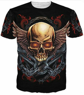 Cool fashion Women/Men's Skull and Wings 3D Print Casual T-Shirt plus size CV24