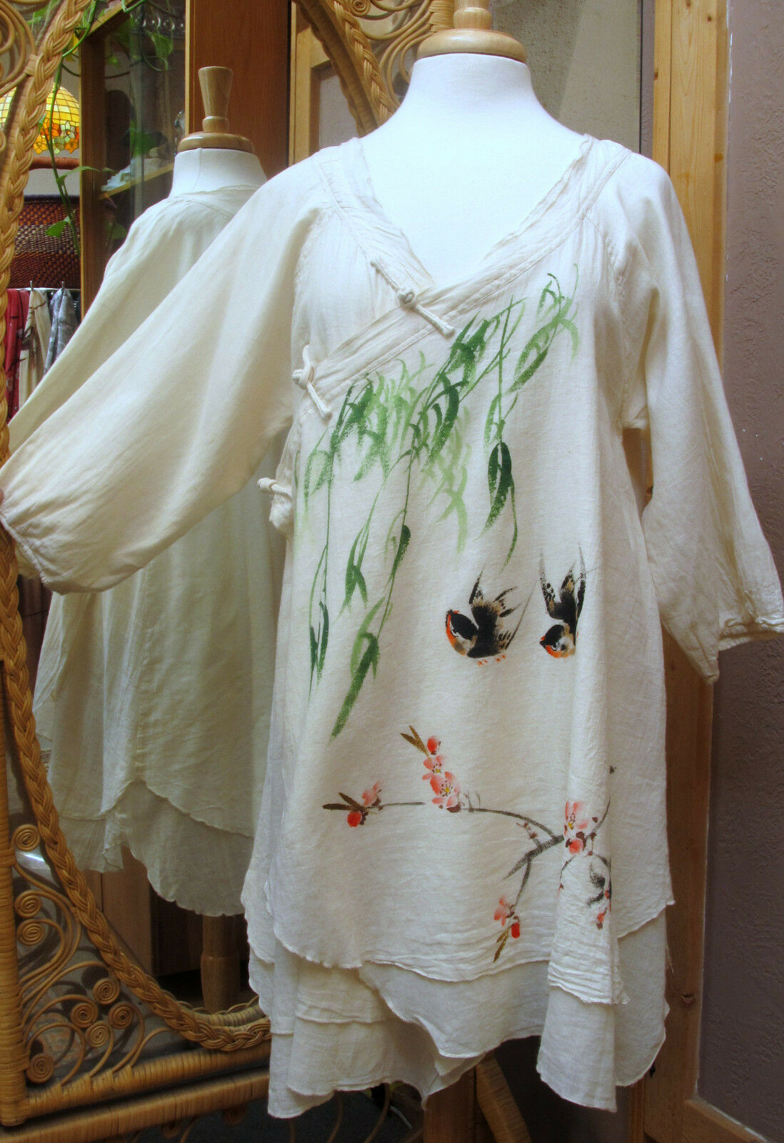 Peacock Ways Hand-painted Long Tunic Double Layer Soft Cotton w  Frog Closures