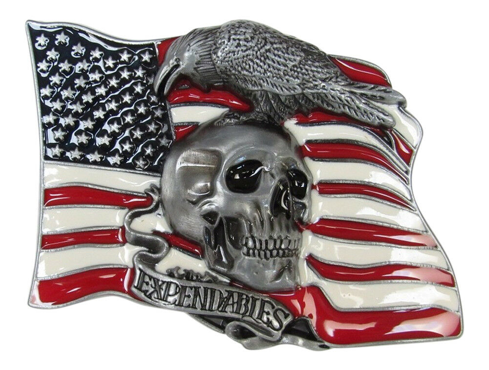 Locken Platte Von Gürtel Emailliert Kopf Tod Auf Grund Flagge USA, Expendables