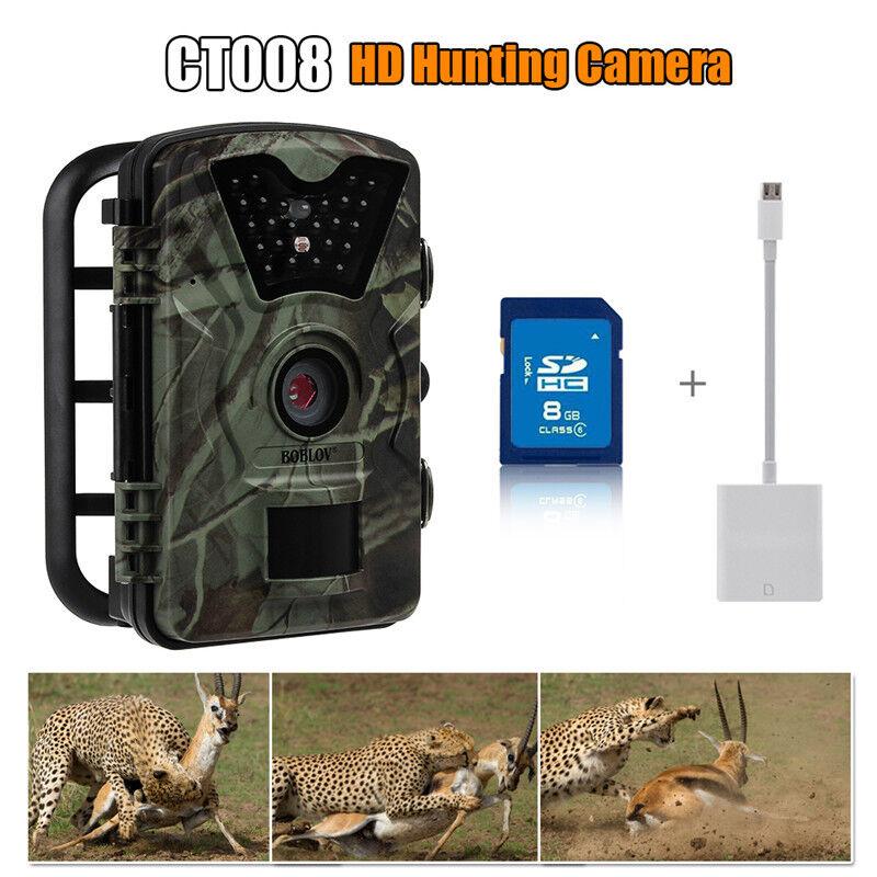 Boblov 8GB Visión Nocturna IR Cámara Trail Juego Caza observación de aves Dvr Con Monitor De 2.4
