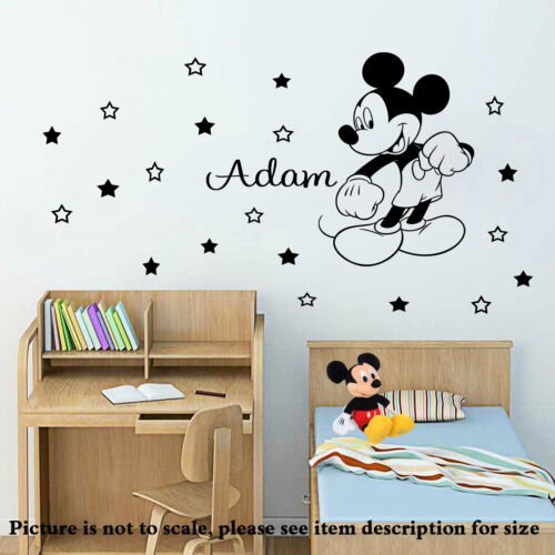 Disney Mickey Mouse Personalised Name Vinyl Wall Stickers Nursery Decal 20 stars