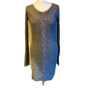 Star-Julien-MacDonald-Grey-Cable-Knit-Long-Sleeved-Jumper-Dress-UK-14-Casual