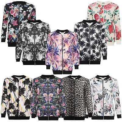 New Womens Black Floral Print Full Zip Waist Band Summer Bomber Jacket 14-28