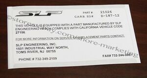 SLP-CARB-California-EO-Decal-for-SLP-1994-1996-Impala-SS-Cold-Air-Induction