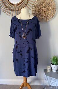 Nine-By-Savannah-Miller-Blue-Black-Feather-Print-Dress-UK14-Pockets