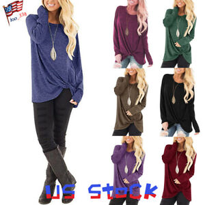 Womens-Casual-T-Shirts-Twist-Knot-Front-Blouse-Tops-Shirts-Loose-Long-Sleeve-US
