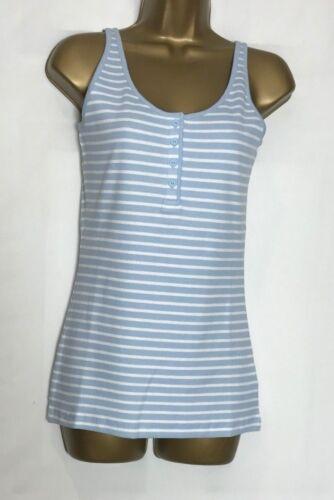 /& 14 Next Blue Striped Cotton Stretch Vest Top Sizes 8 12 n-36s 10