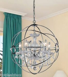 Details About Modern Crystal Chrome Chandelier Dining Room Light Orb Ball Contemporary Silver