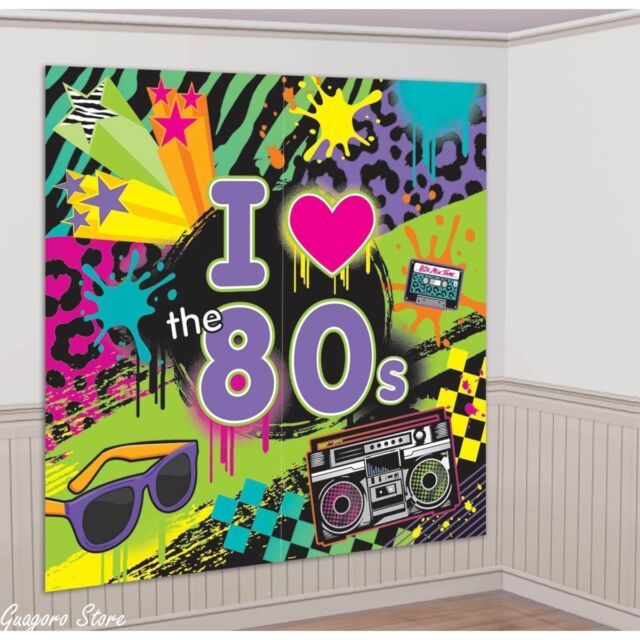 I Love the 80's Birthday Scene Setter Wall Banner Decoration Kit Party Supplies