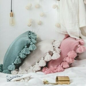 Throw Pillow Case Cushion Cover Tassel Fringe Knitted Cotton Sofa Bed Home Adorn