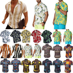 Men-Boho-Floral-Hawaiian-T-Shirt-Blouse-Short-Sleeve-Casual-Beach-Shirt-Tops-Tee
