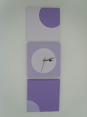 3 Fatto A Mano Arte Moderna Dipinti Tela Lilla Viola Cerchi Con Orologio Da Parete-