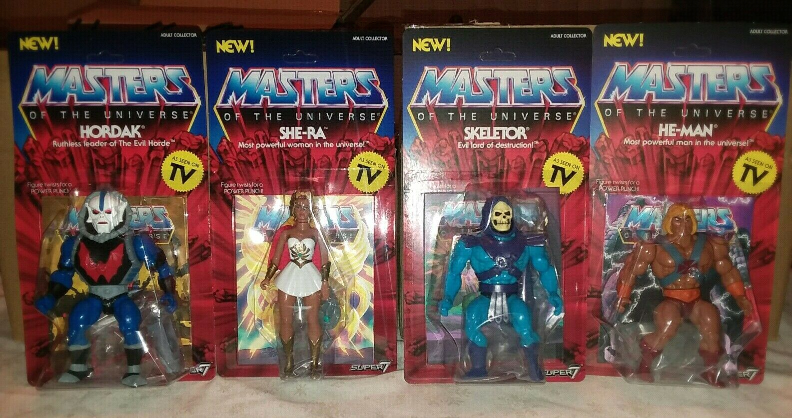Brand New Super7 MOTU VINTAGE wave 1 set (4) He-Man Skeletor Hordak She-Ra