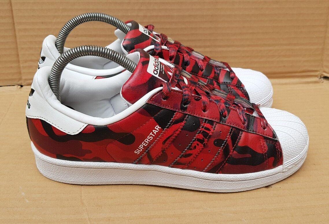 RARE ADIDAS Superstar Scarpe da ginnastica Nero & 5 Rosso Stampa Camo misura 5 & Regno Unito eccellente 3c7274
