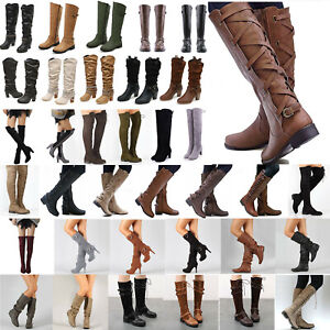 Ladies-Knee-High-Boots-Lace-Up-Buckle-Retro-Mid-Calf-Riding-Biker-Flat-Shoes