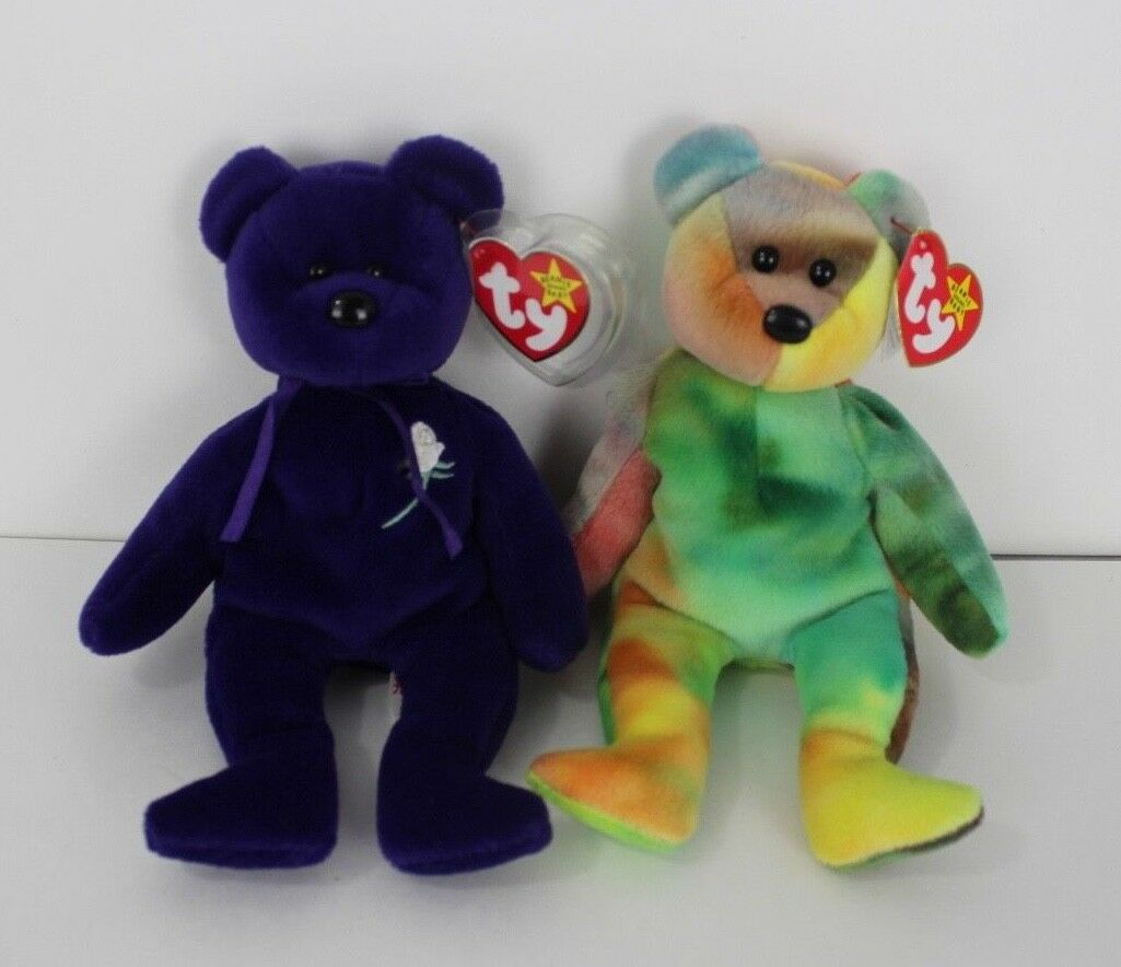 Ty Beanie babies bears Garcia and princess Diana with tags