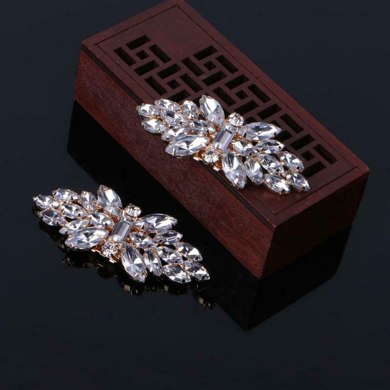 Gold Tone Rhinestone Shoe Clips Flower Glass Wedding Diamante Sparkle Fashion