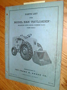 Details about International Hough HAH PARTS MANUAL BOOK CATALOG WHEEL  PAYLOADER GUIDE LIST