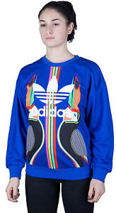 1d3dfde69df12 ADIDAS ORIGINALS X FARM TUKANA TREFOIL LOGO BIRD WOMEN'S SWEATER ...
